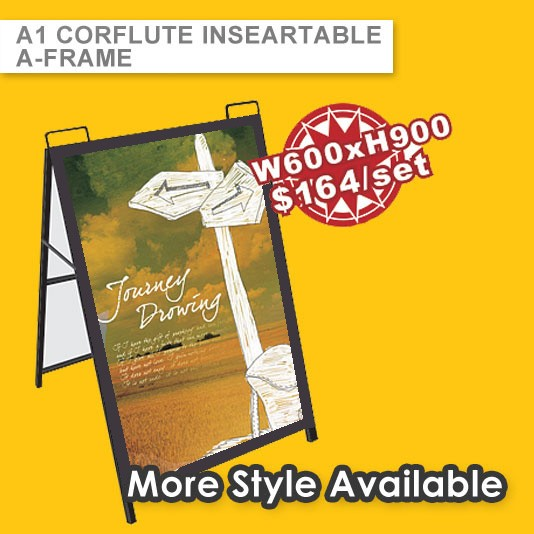 METAL A FRAME WITH PRINTED CORFLUTE PANEL(INTERCHANGEABLE GRAPHIC)