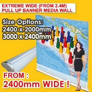 EXTREME WIDE PULL UP BANNER MEDIA WALL